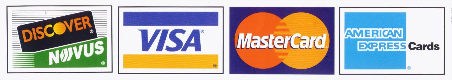 Visa, MasterCard, American Express, Discover Credit Cards