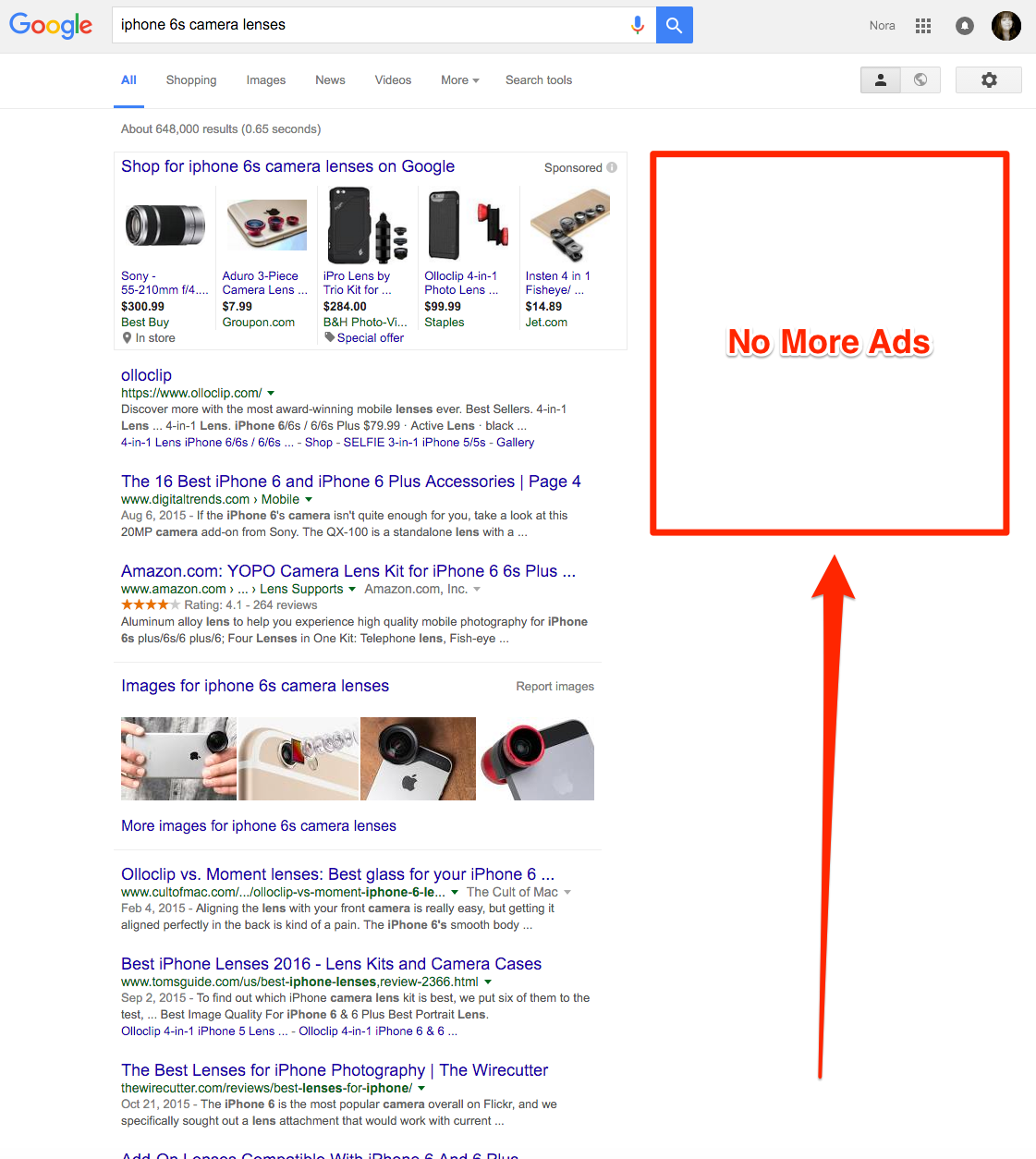 Google Removes Ads in Search Engine Results Pages