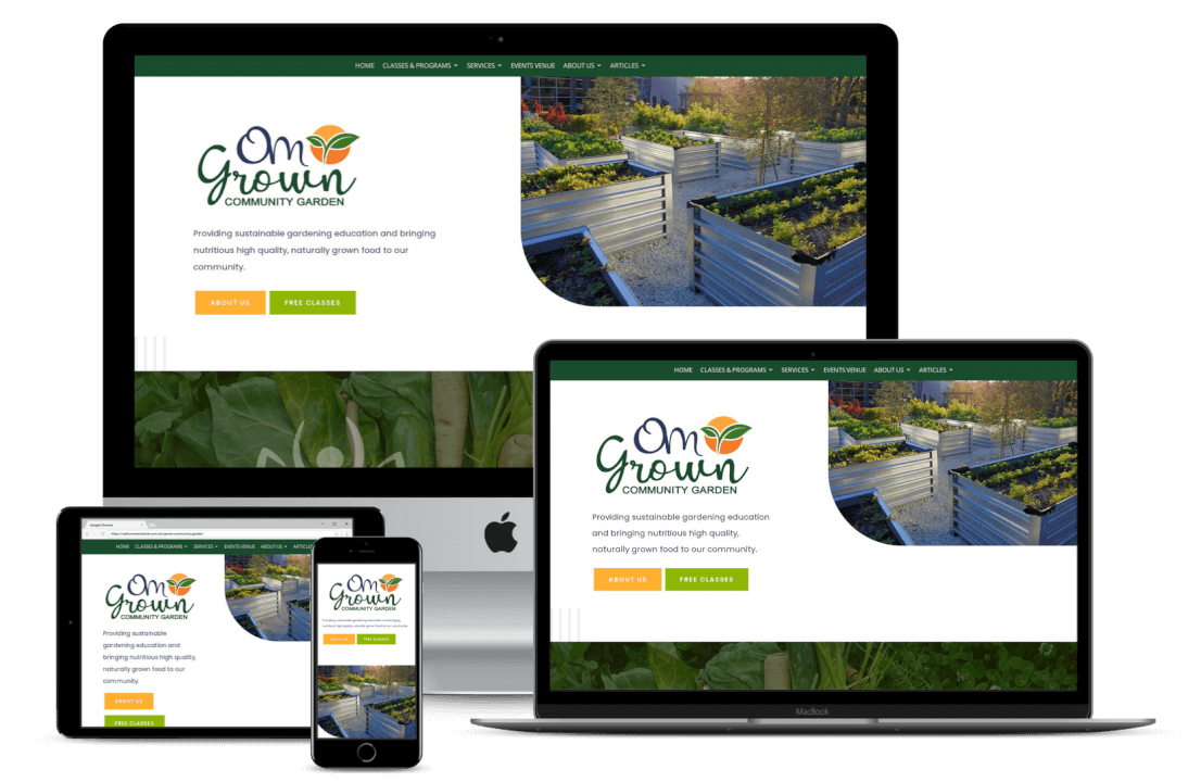 Om Grown Community Garden Website Design
