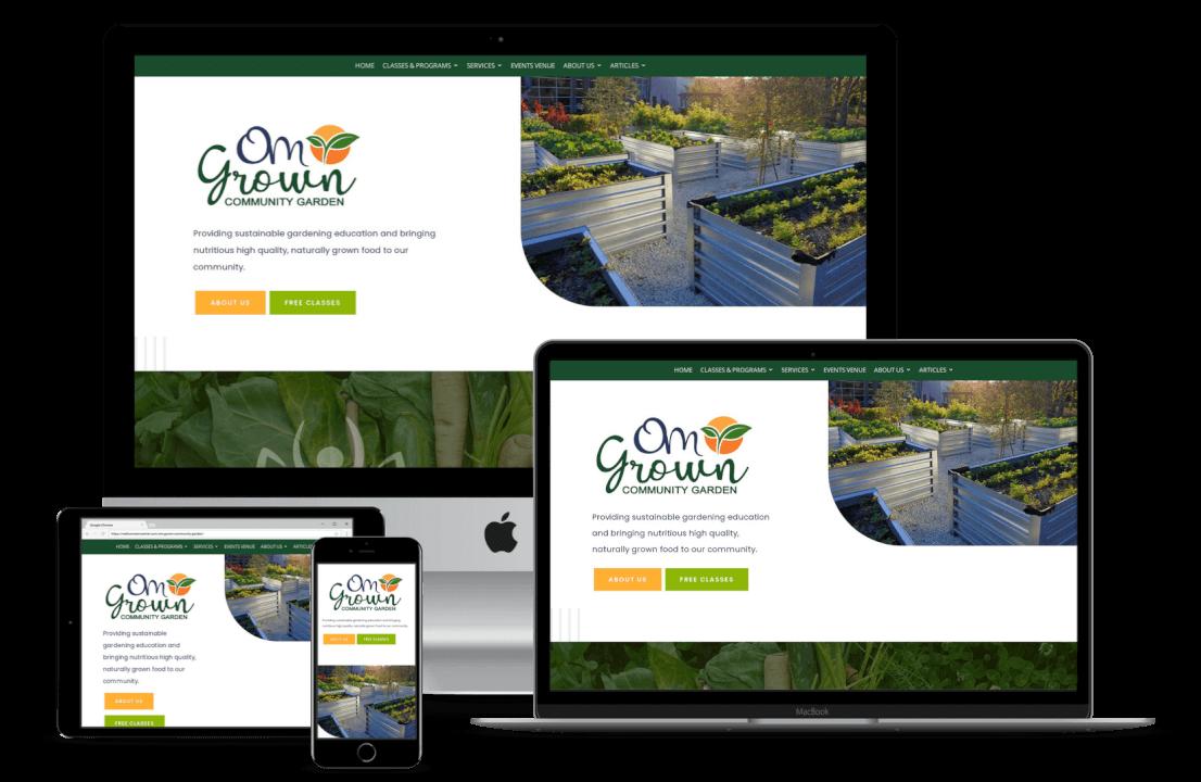 Om Grown Community Garden Website Design