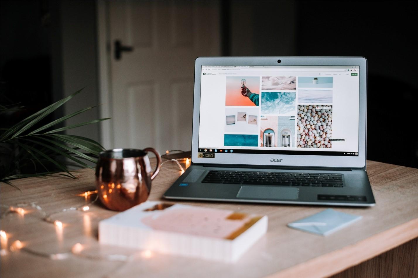 Laptop screen displaying portfolio